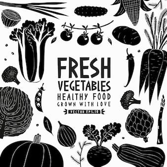 Modèle de conception de légumes dessinés à la main