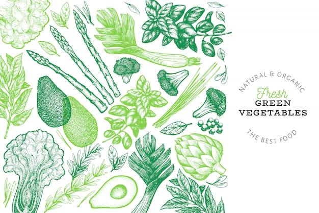 Modèle de conception de légumes verts.