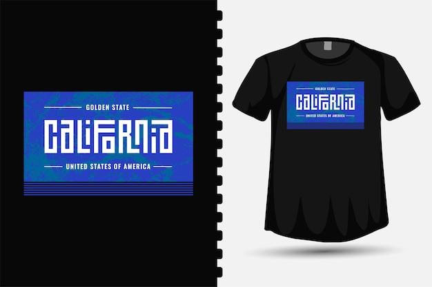 Modèle de conception de lettrage de typographie golden state california pour les vêtements et les affiches de mode t-shirt