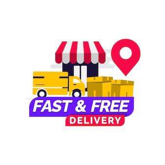 Modèle de conception de livraison rapide et gratuite
