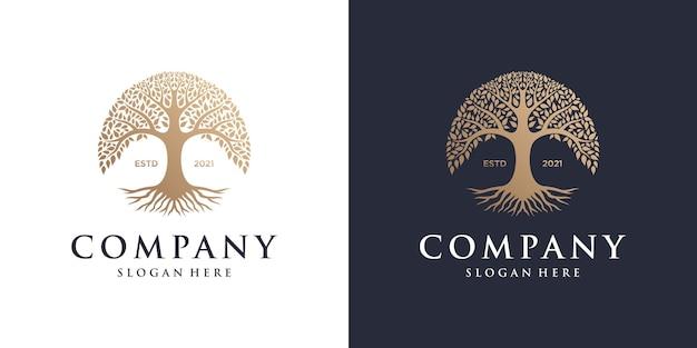 Modèle de conception de logo abstrait arbre vibrant.