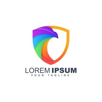 Modèle de conception de logo abstrait bouclier aigle coloré