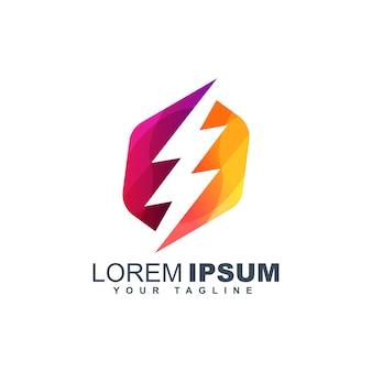 Modèle de conception de logo abstrait boulon coloré