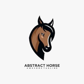 Modèle de conception de logo abstrait cheval couleur plate de vecteur