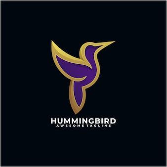 Modèle de conception de logo abstrait colibri