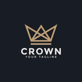 Modèle de conception de logo abstrait couronne royale roi roi ligne
