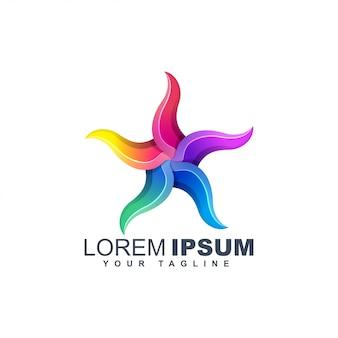 Modèle de conception de logo abstrait étoile de mer coloré