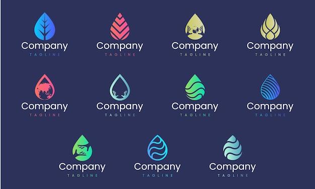 Modèle de conception de logo abstrait en forme de goutte d'eau. ensemble d'éléments graphiques, adaptés à toute marque d'entreprise qui représente la nature