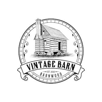 Modèle de conception de logo abstrait grange vintage