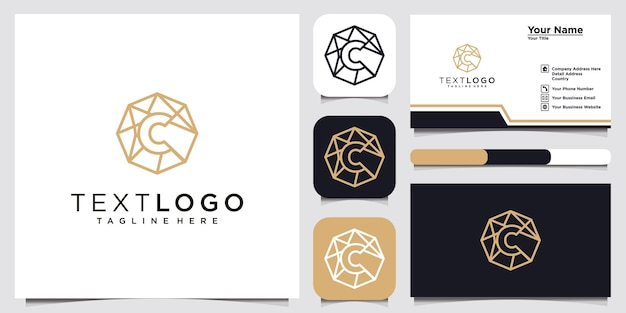 Modèle de conception de logo abstrait lettre initiale c et carte de visite
