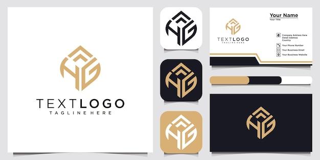 Modèle de conception de logo abstrait lettre initiale hg hg et carte de visite