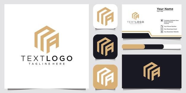 Modèle de conception de logo abstrait lettre initiale na na et carte de visite
