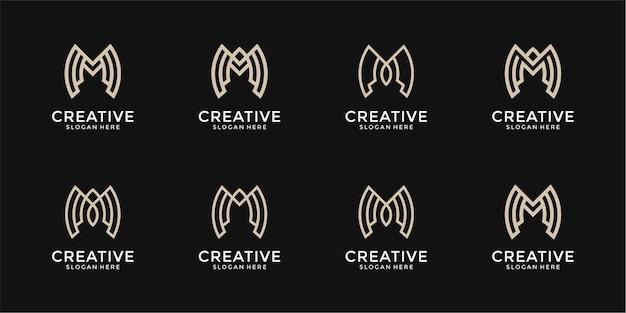 Modèle de conception de logo abstrait lettre m collection