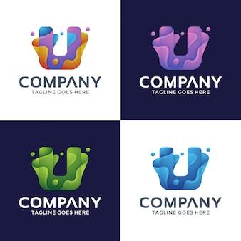 Modèle de conception de logo abstrait lettre u
