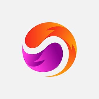 Modèle de conception de logo abstrait en spirale