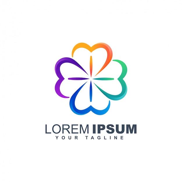 Modèle de conception de logo abstrait trèfle coloré