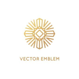 Modèle de conception de logo abstrait vectoriel dans un style linéaire branché