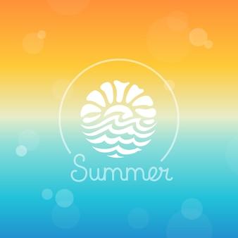 Modèle de conception de logo abstrait vectoriel - soleil et mer