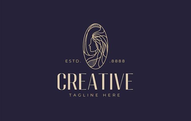 Modèle de conception de logo d'adn de cheveux de femme illustration vectorielle de belle femme aux cheveux longs