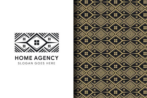 Modèle de conception de logo d'agence d'accueil noir modèle immobilier utiliser de l'or isolé sur fond noir