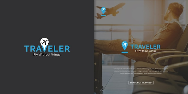 Modèle de conception de logo d'agent de voyage