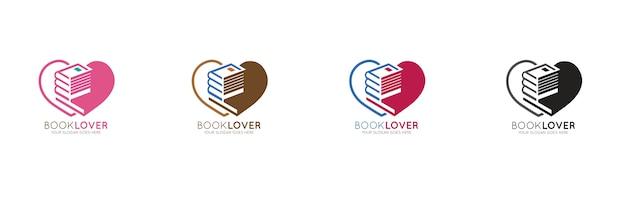 Modèle de conception de logo d'amant de lecture