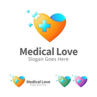 Modèle de conception de logo d'amour médical