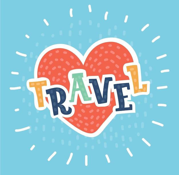 Modèle de conception de logo d'amour de voyage