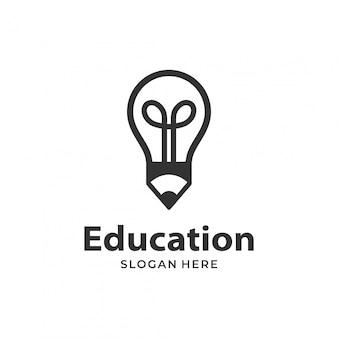 Modèle de conception de logo ampoule crayon