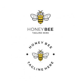 Modèle de conception de logo amusant abeille.
