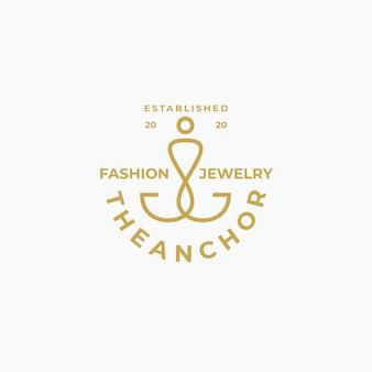 Modèle de conception de logo d'ancre d'or de luxe