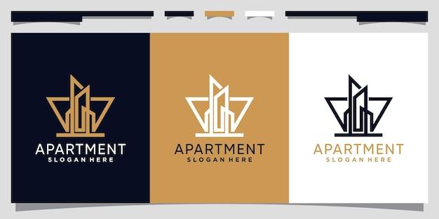 Modèle de conception de logo d'appartement avec style d'art en ligne vecteur premium