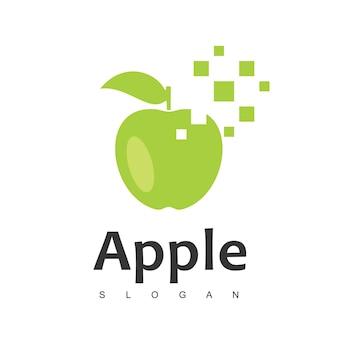 Modèle de conception de logo apple pixel