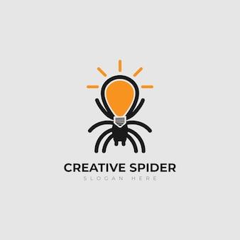 Modèle de conception de logo d'araignée ampoule créative