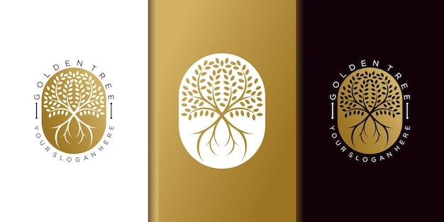 Modèle de conception de logo d'arbre doré minimaliste avec concept moderne premium vektor