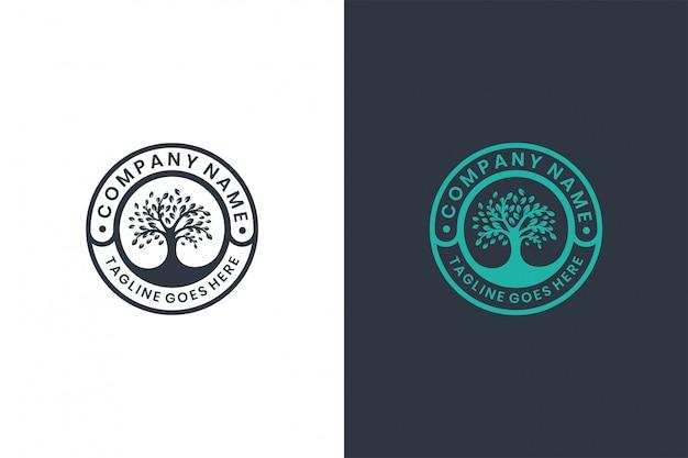 Modèle de conception de logo d'arbre vert, emblème