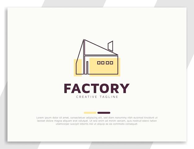 Modèle de conception de logo d'architecture d'usine de bâtiment industriel