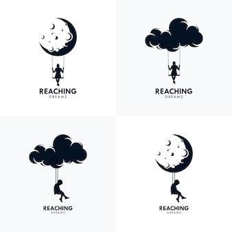 Modèle de conception de logo atteindre les rêves