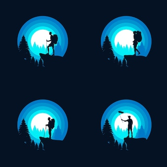 Modèle de conception de logo d'aventure de randonnée