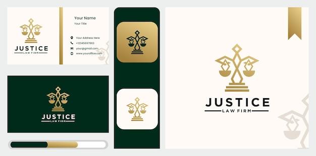 Modèle de conception de logo d'avocat de contour de cabinet d'avocats créatif