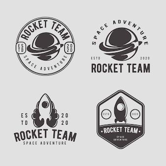 Modèle de conception de logo badge vintage fusée