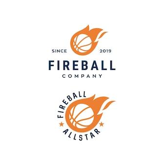 Modèle de conception de logo de basket-ball de feu