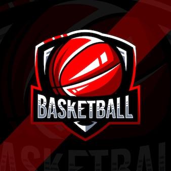 Modèle de conception de logo de basket-ball