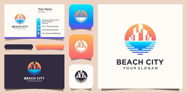 Modèle de conception de logo de bâtiment de plage et conception de carte de visite.