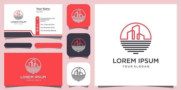 Modèle de conception de logo de bâtiment de plage océanique et conception de carte de visite