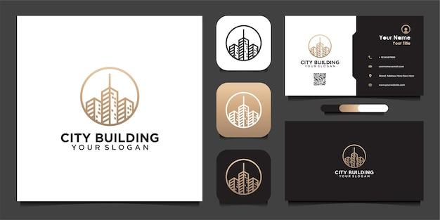 Modèle de conception de logo de bâtiment de ville avec ligne et carte de visite
