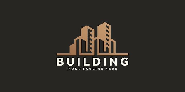 Modèle de conception de logo de bâtiment de ville