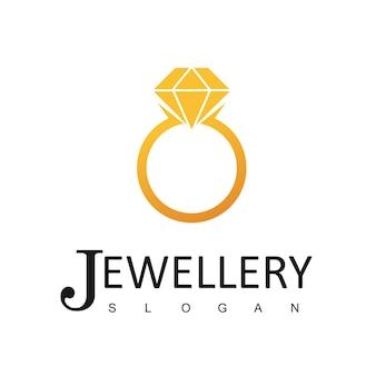Modèle de conception de logo de bijoux, icône de bague
