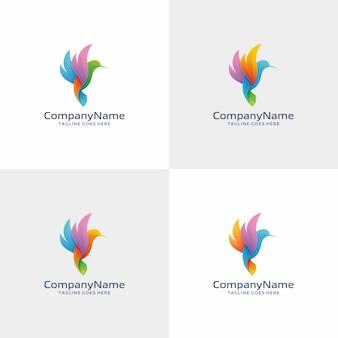 Modèle de conception de logo bird coloré