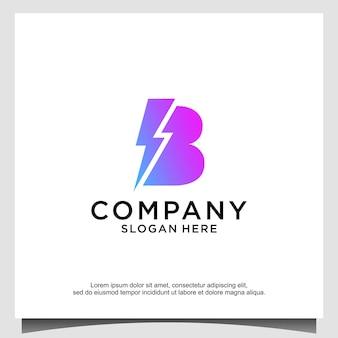 Modèle de conception de logo blitz lettre b